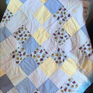 Other - Patchwork Baby Quilt With Satin Ribbing Binding